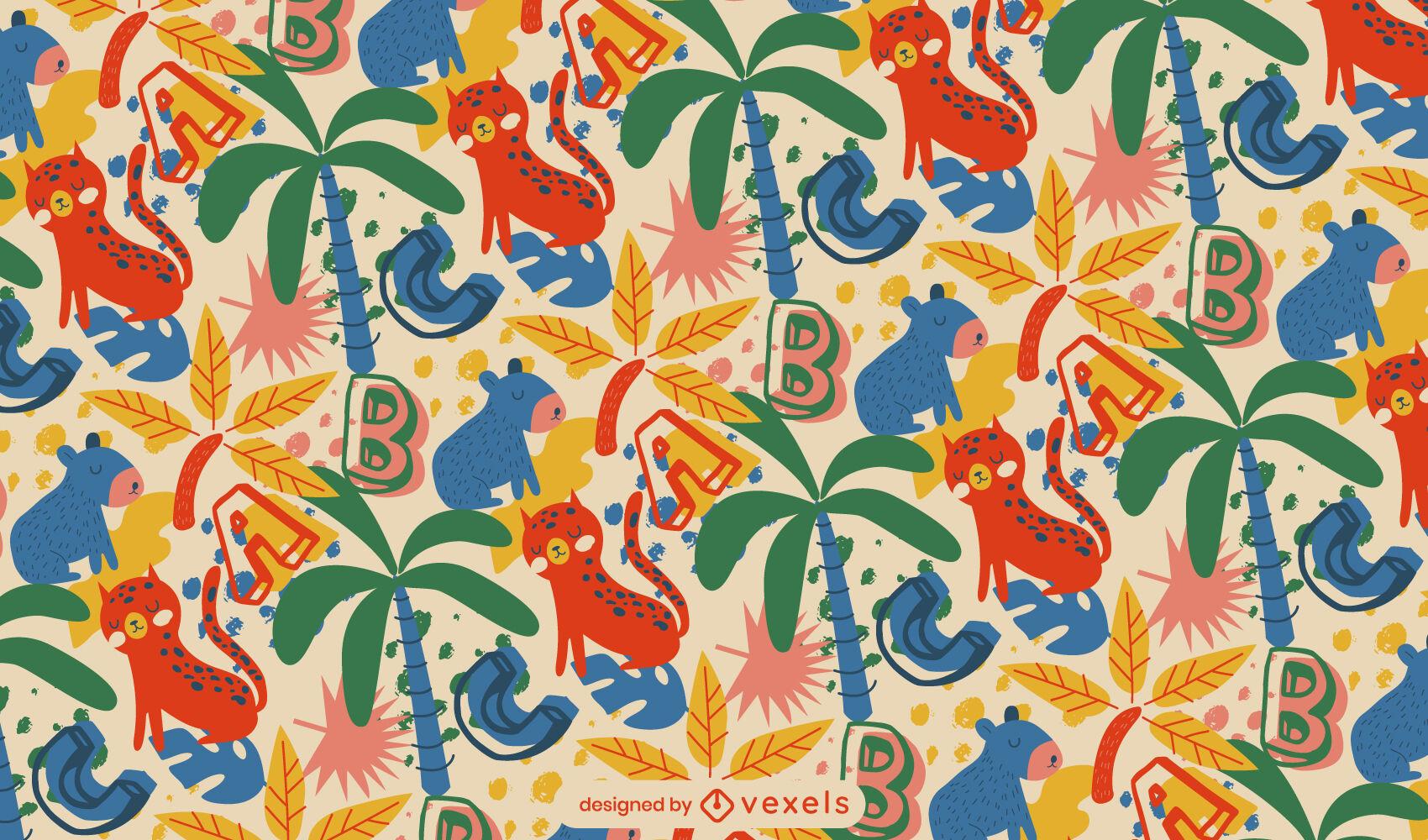 Animais da selva e desenho de padrões de letras