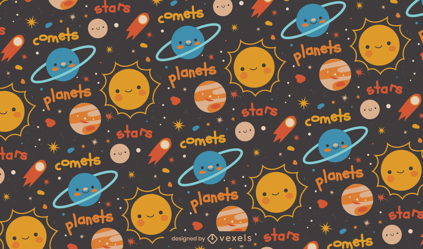 Cute planets and stars space pattern design