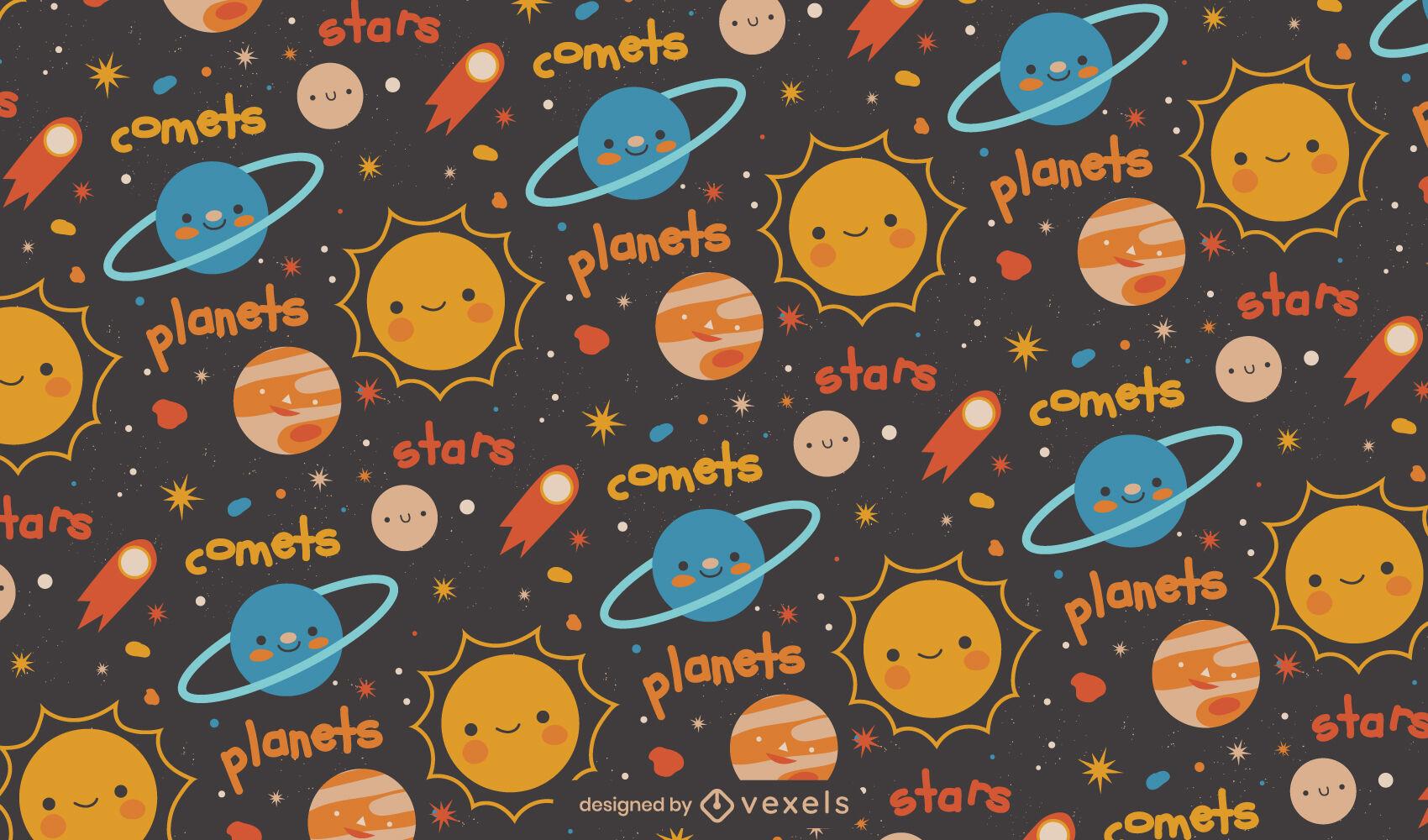 Design de padrão espacial de planetas e estrelas fofos