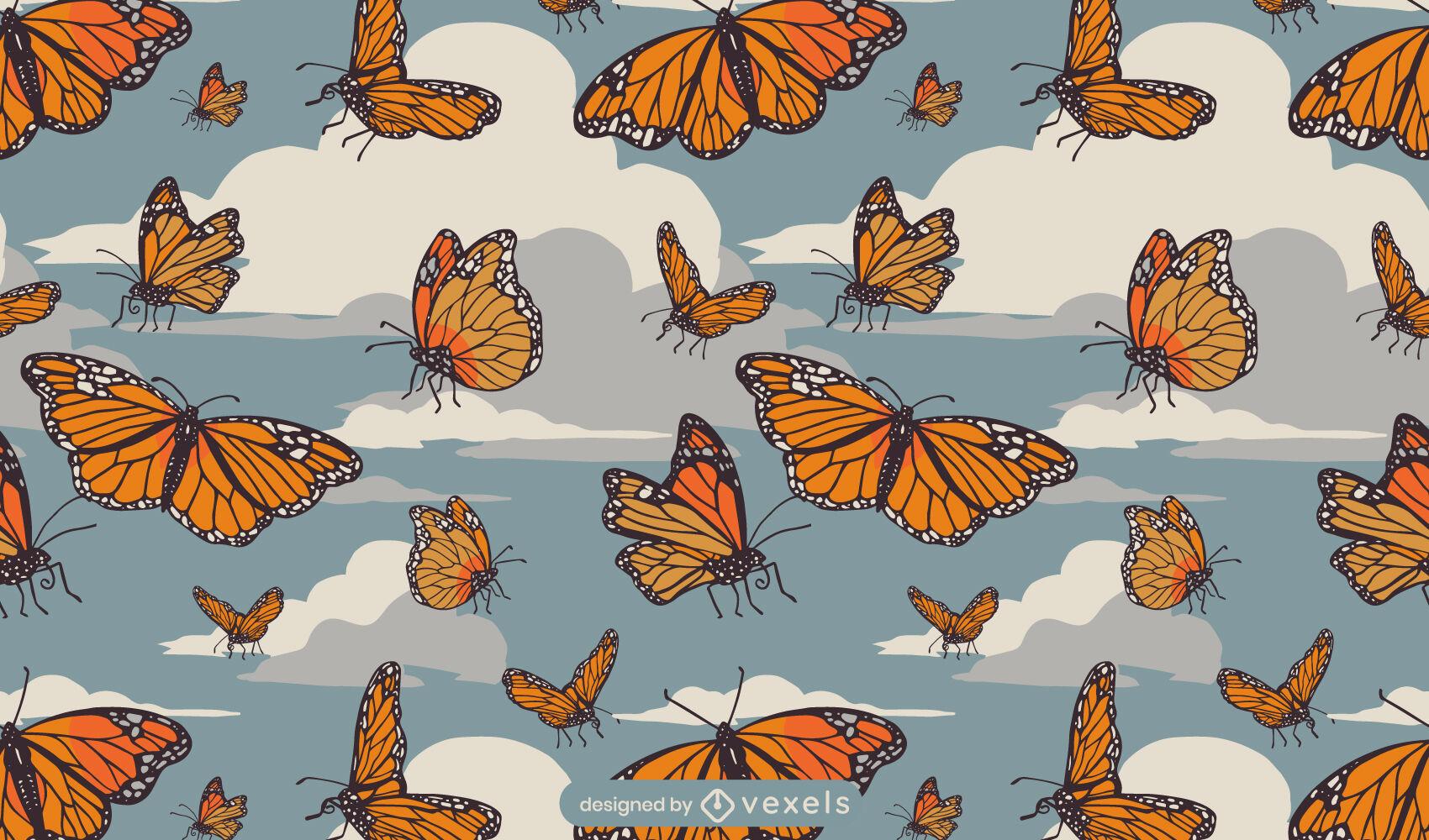 Insetos borboletas voando no design do padr?o da natureza
