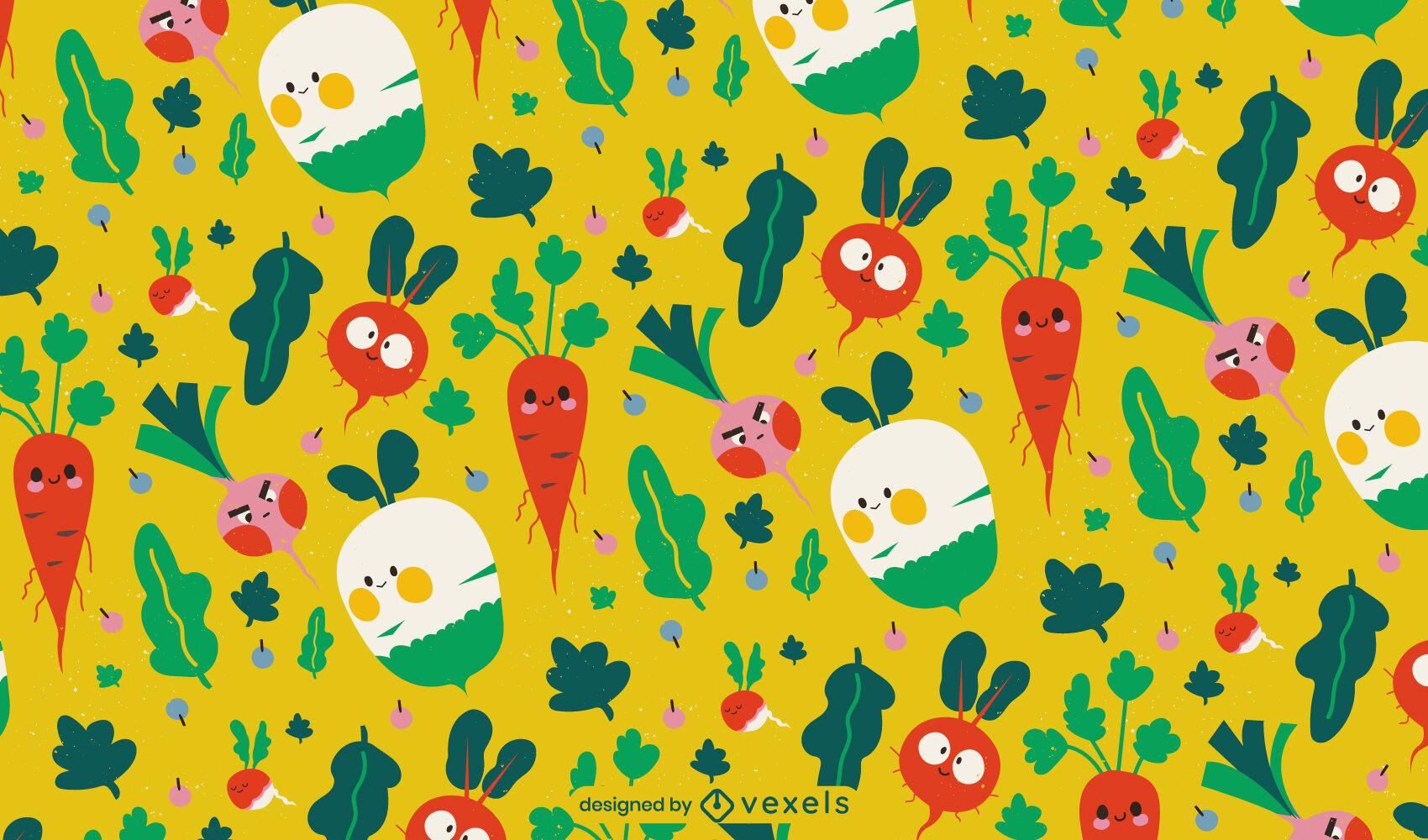 Vegetable food cartoon pattern design