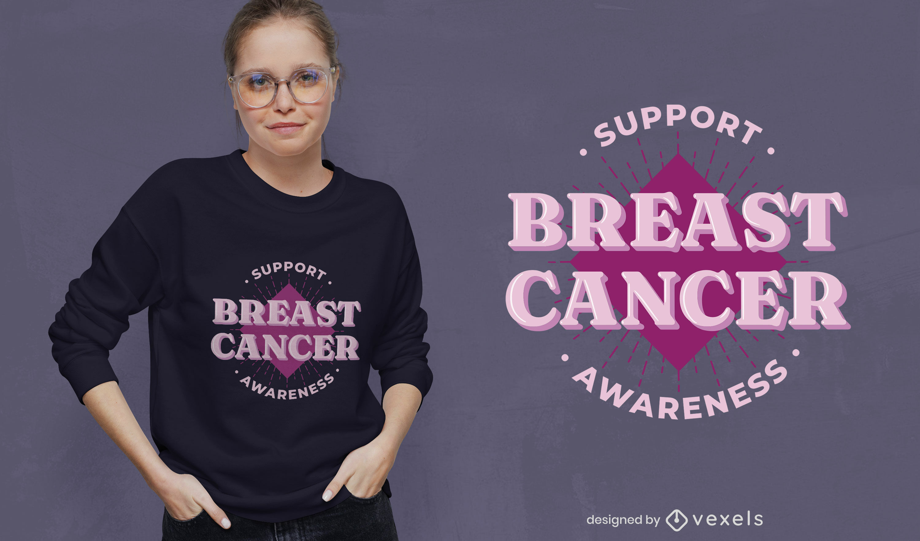 Breast cancer support t-shirt design