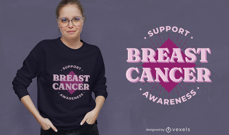 Diseño de camiseta de apoyo al cáncer de mama.
