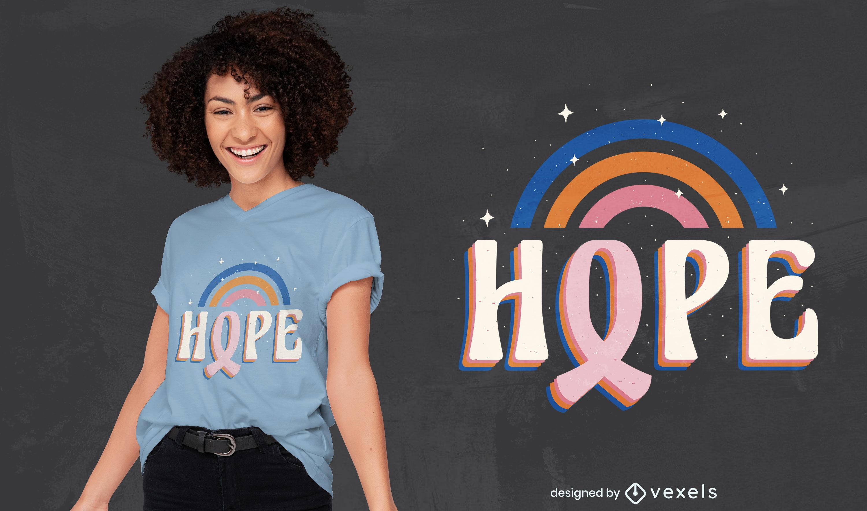 Lindo design de camiseta para conscientização do câncer de mama