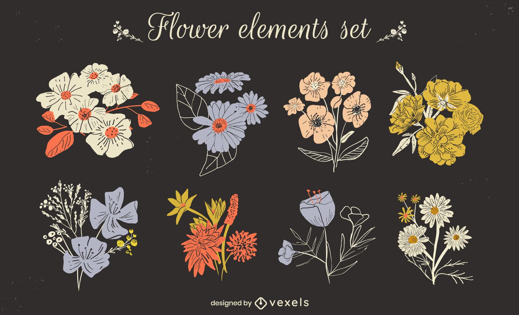 Conjunto de buquês de flores de jardim primavera natureza