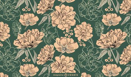 Spring flowers nature pattern design