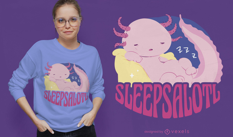Divertido dise?o de camiseta de axolotl so?oliento