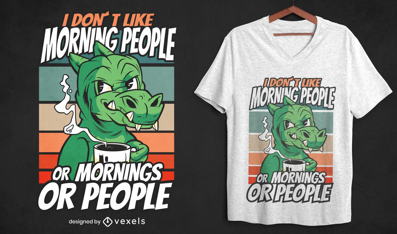 Diseño de camiseta de dinosaurio de dibujos animados introvertido