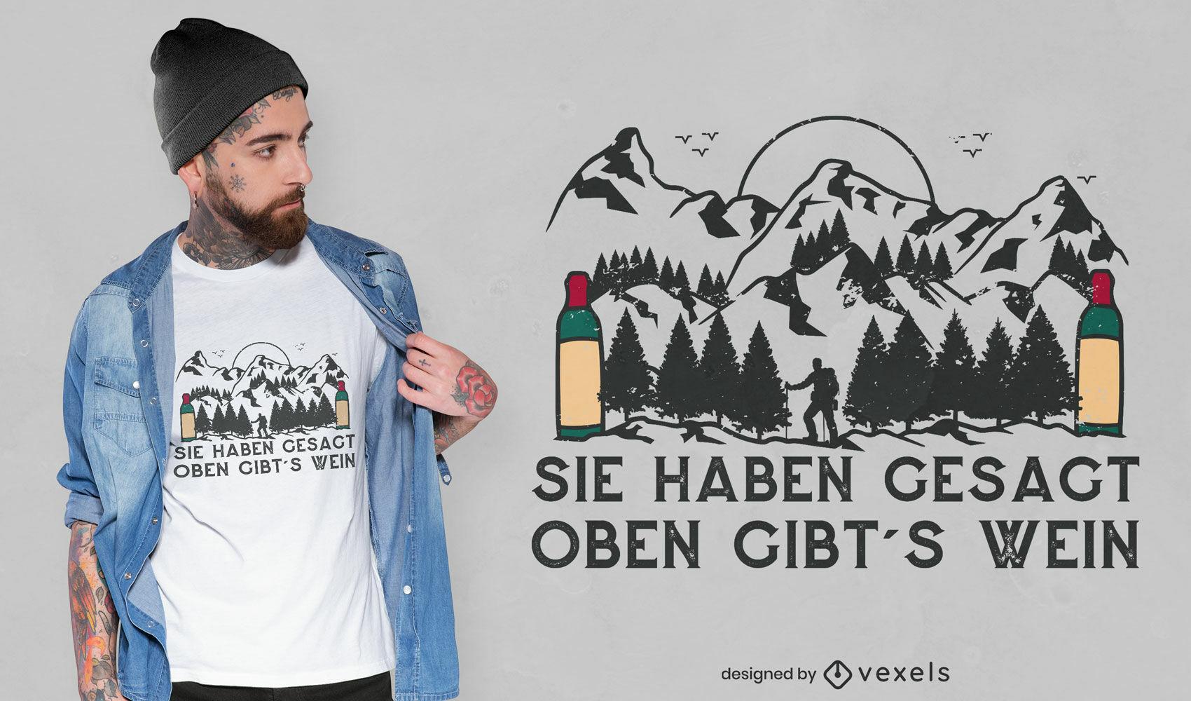 Diseño de camiseta de botellas de vino y montañas.