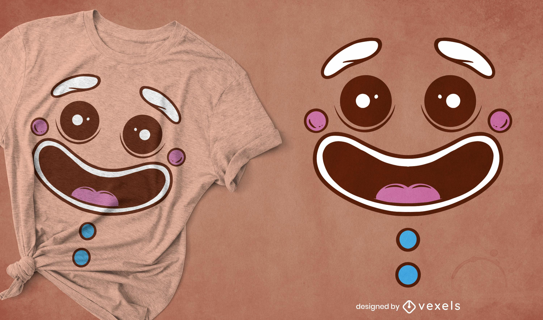 Design de camiseta com cara de biscoito de gengibre