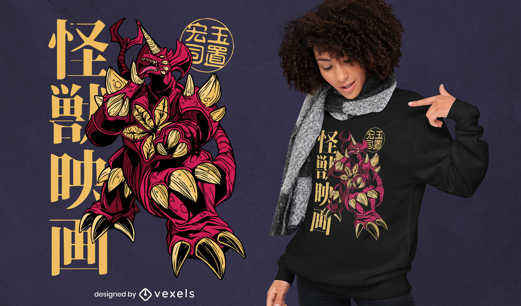 Design de camiseta japonesa Demon kaiju monster