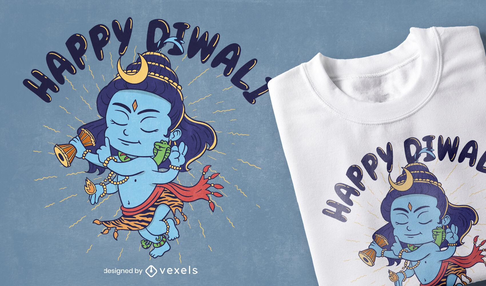 Diwali Festival Shiva Charakter T-Shirt Design