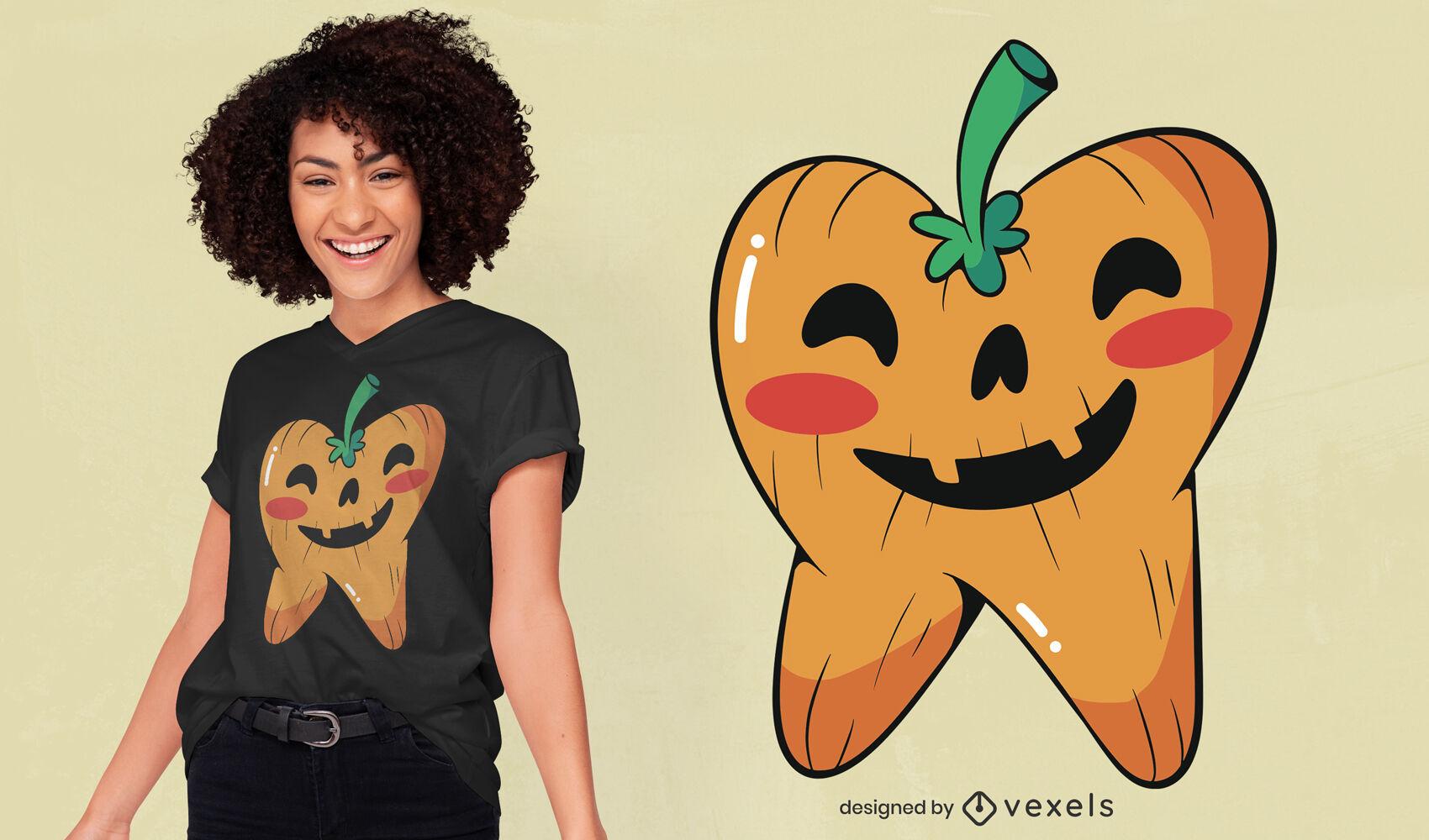 Diseño de camiseta de calabaza en forma de diente.