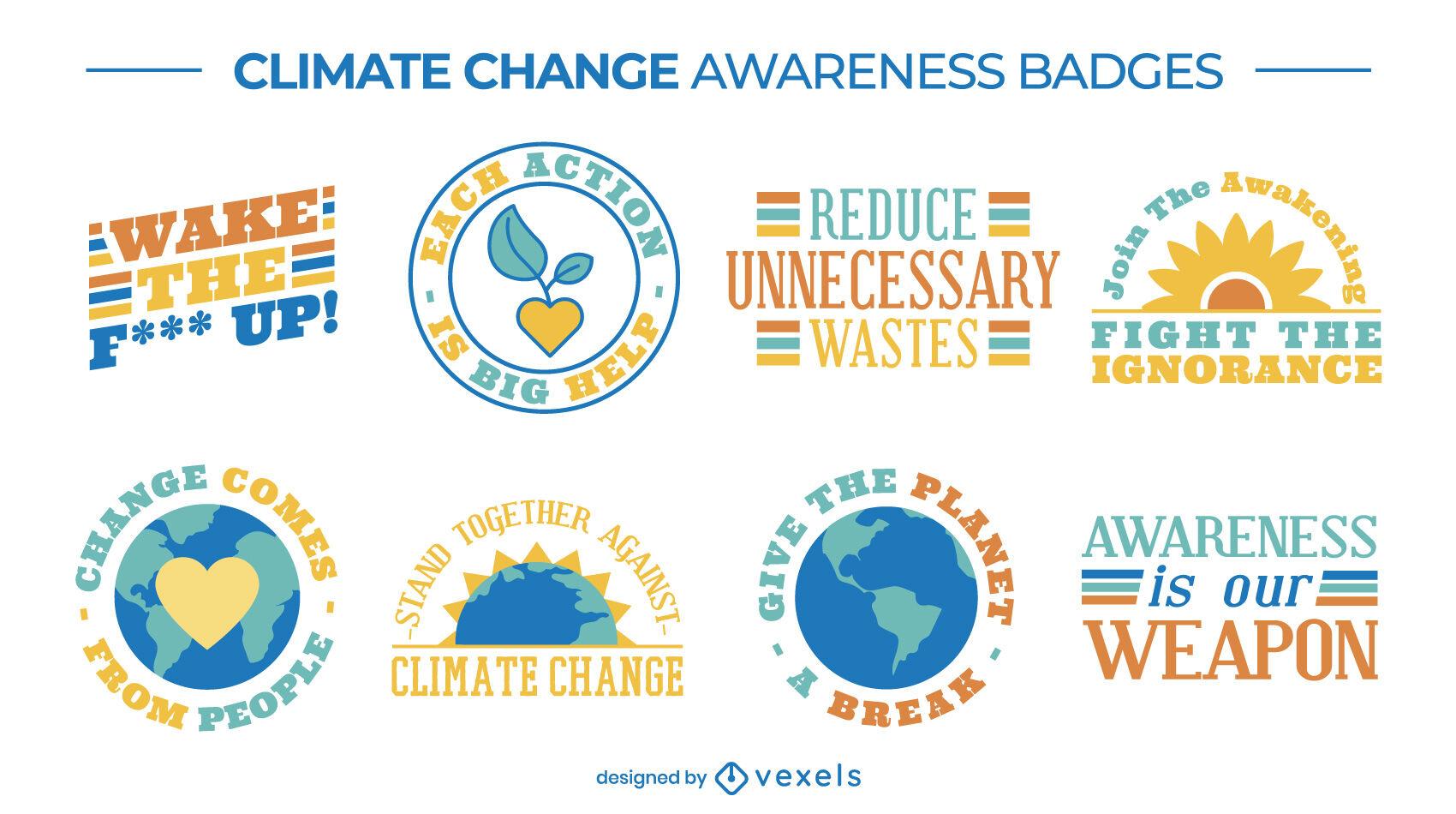 Conjunto de emblemas de conscientização sobre as mudanças climáticas