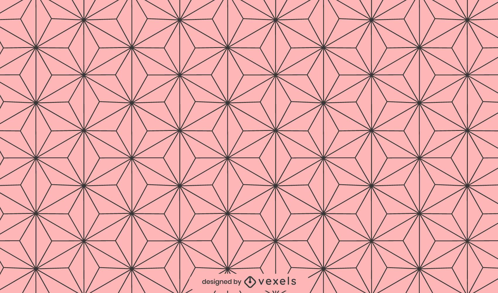 Asanoha deixa o desenho do padrão geométrico