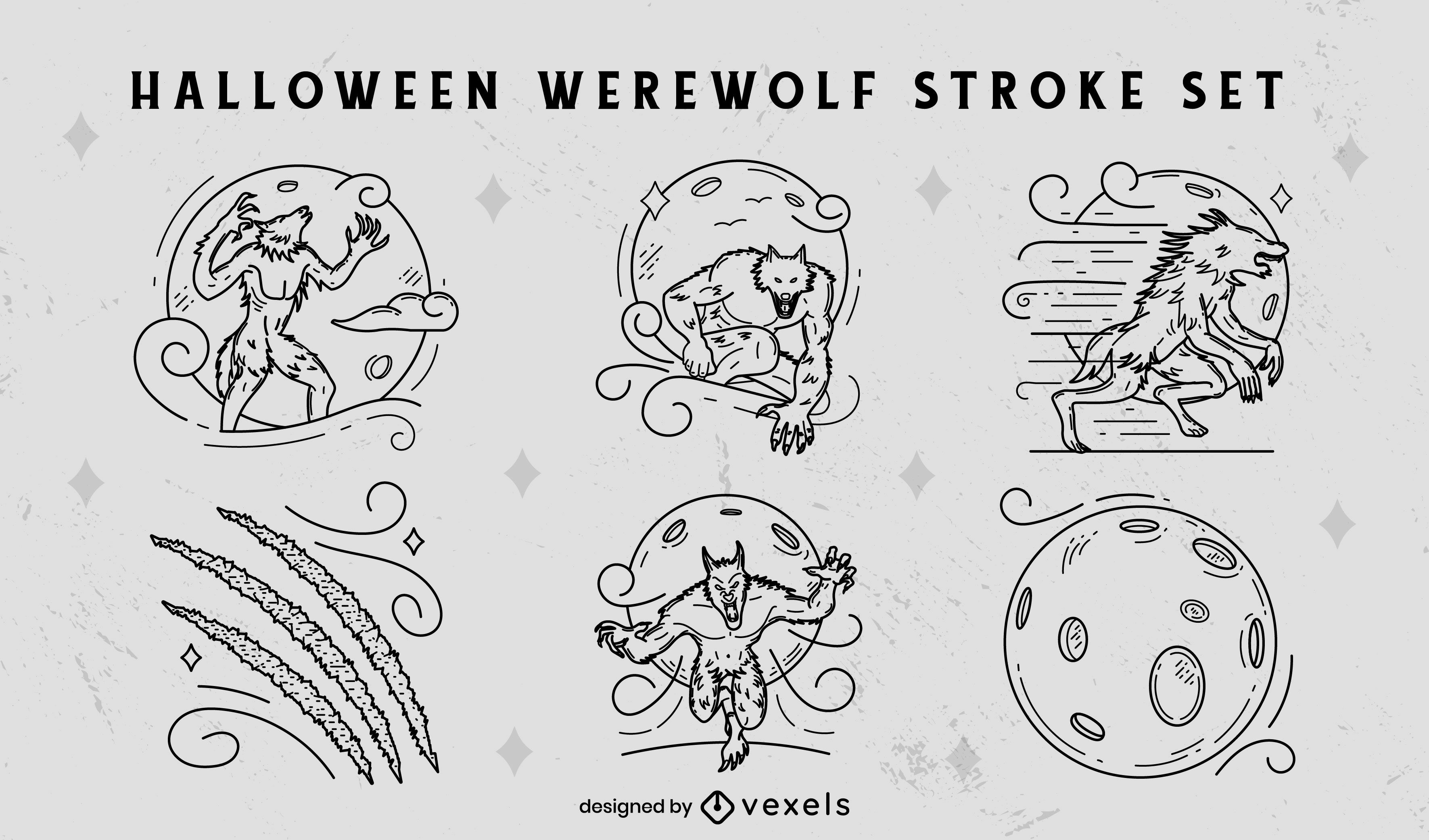 Werewolf supernatural monster stroke set