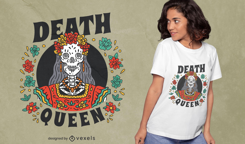 Gran diseño de camiseta mexicana del día de muertos.
