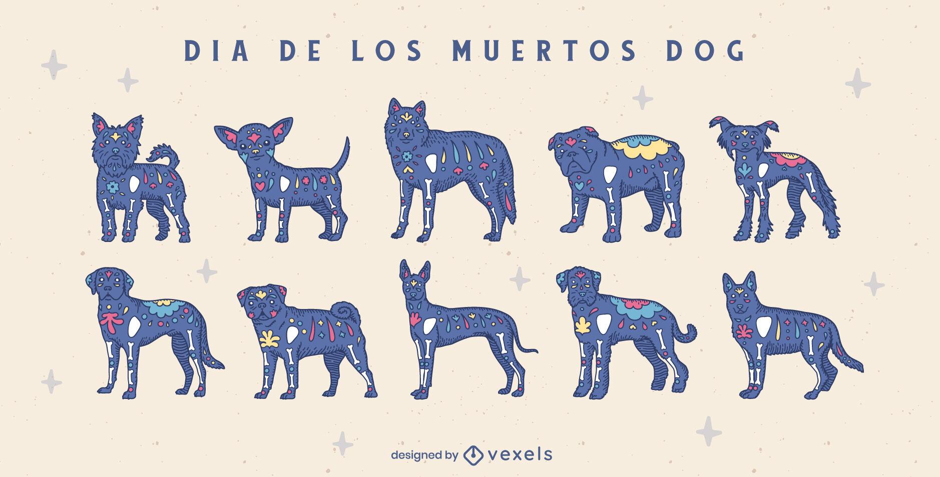 Conjunto de animais de cachorro do feriado do dia dos mortos