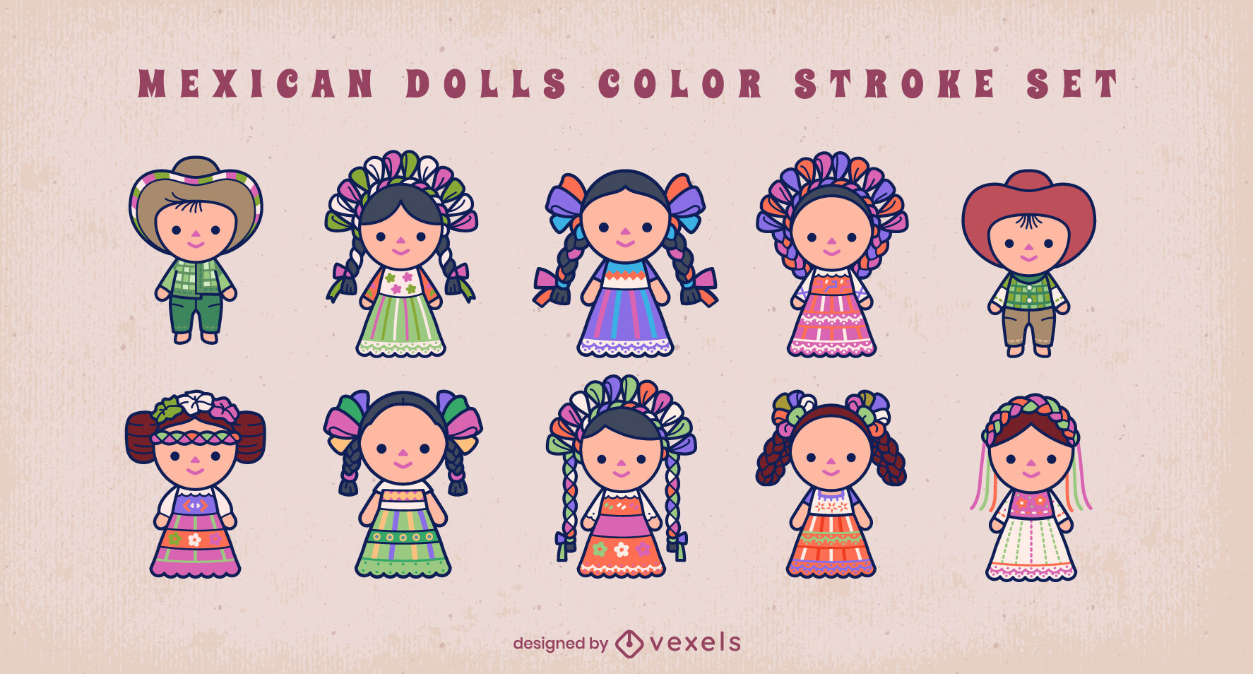 Conjunto de bonecas tradicionais mexicanas fofas