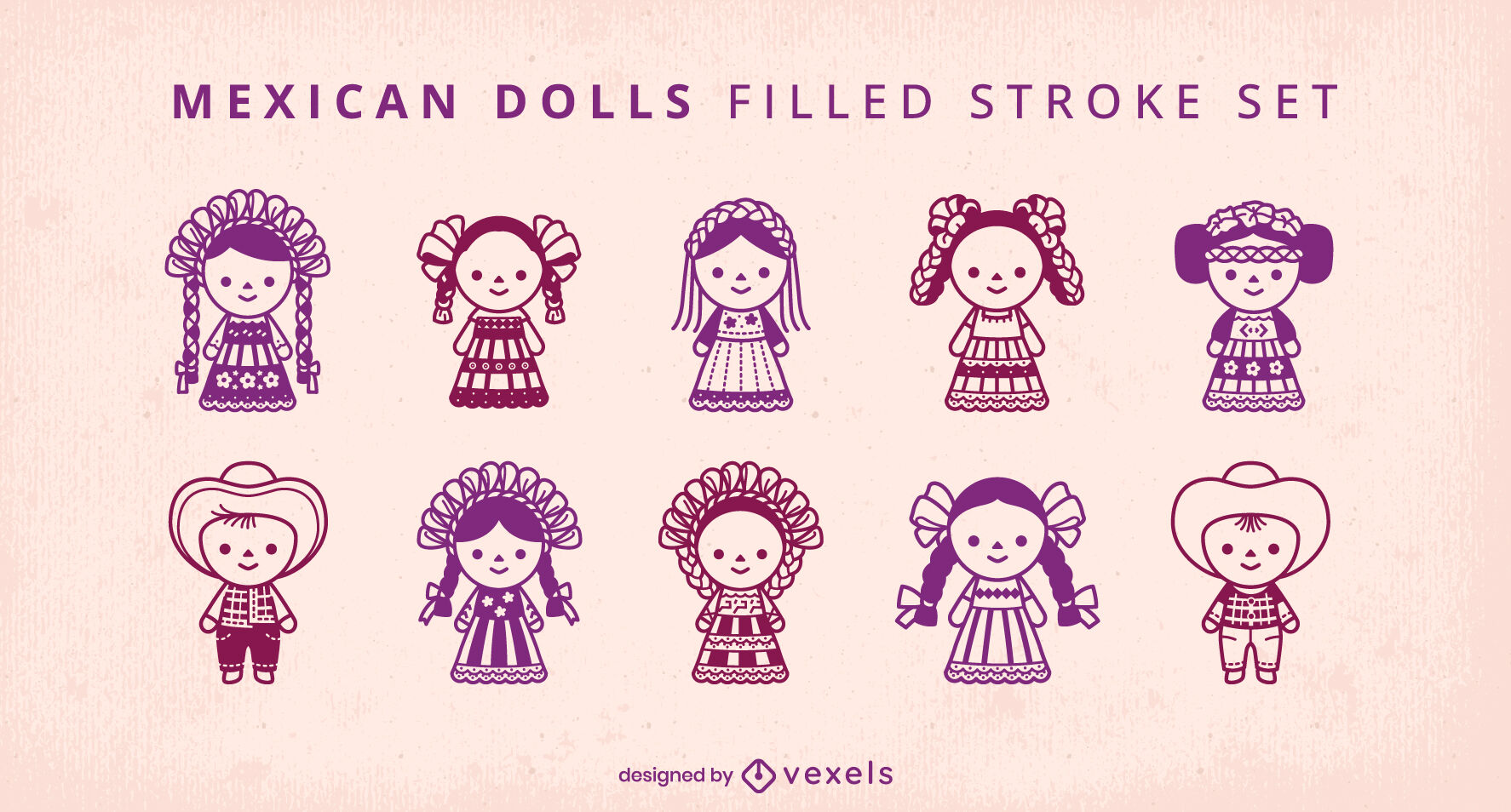 Cute traditional mexican people dolls set