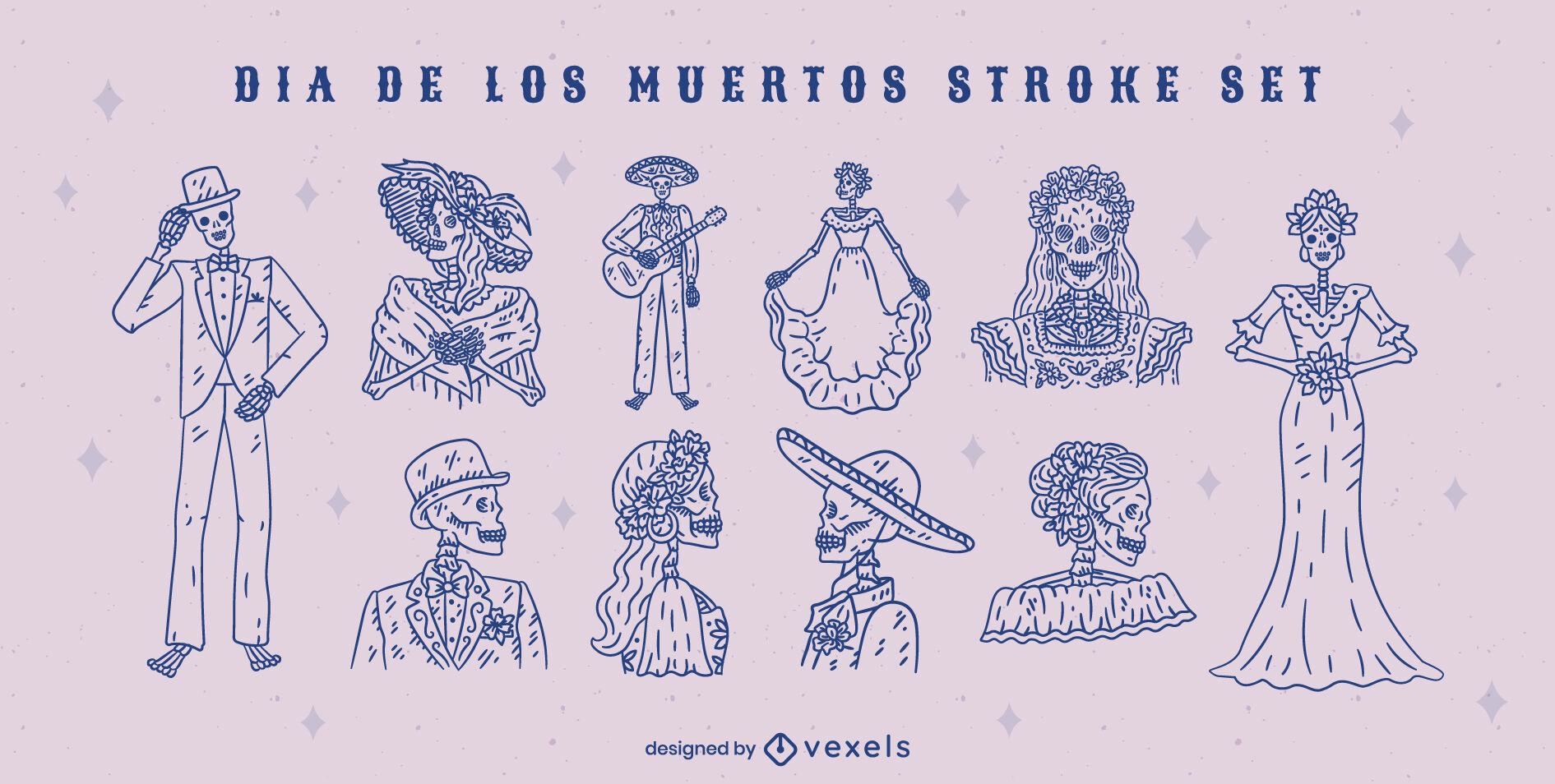 Day of the dead skeleton people stroke set