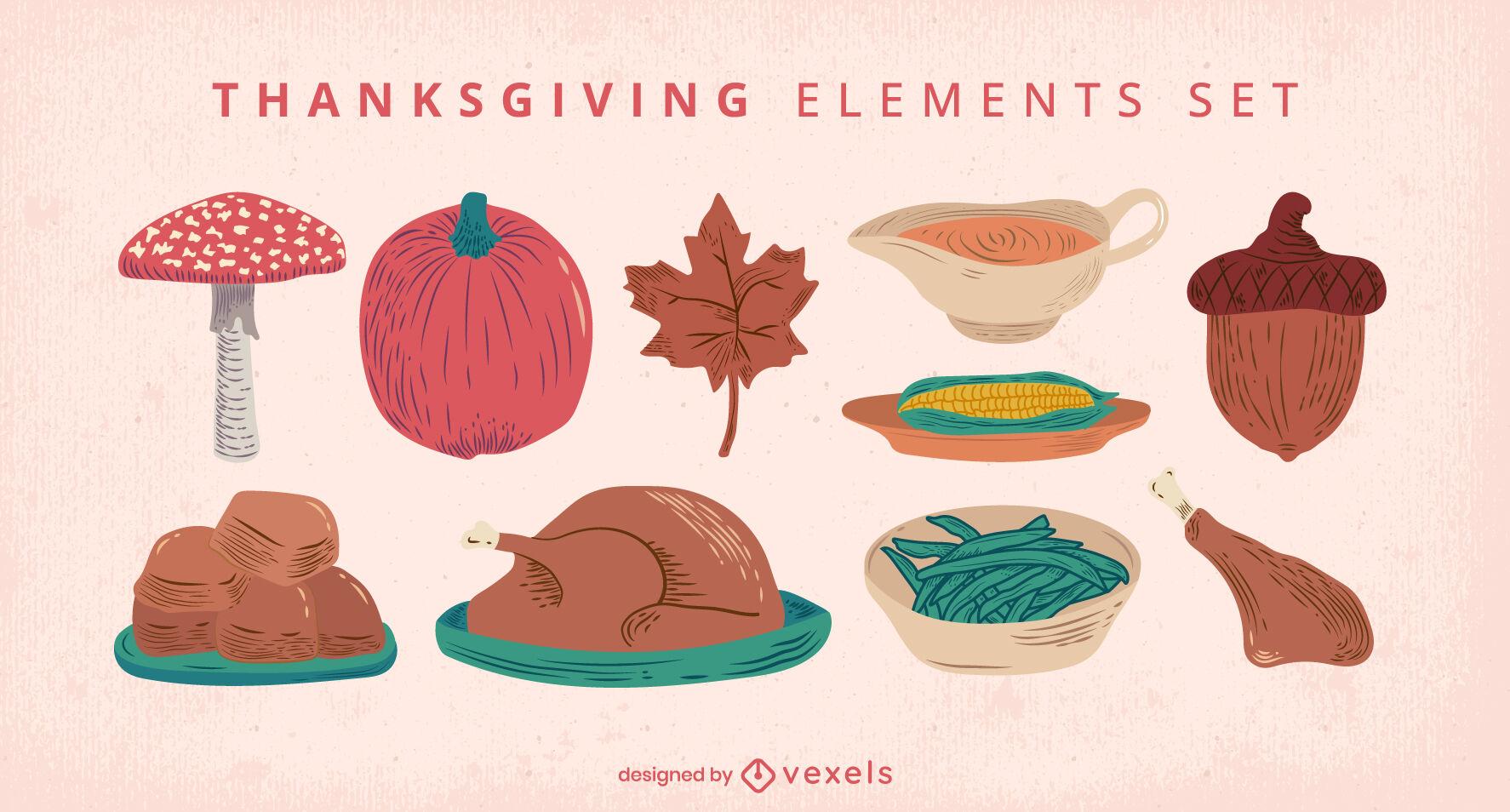 Conjunto de comida para jantar de feriado de Ação de Graças