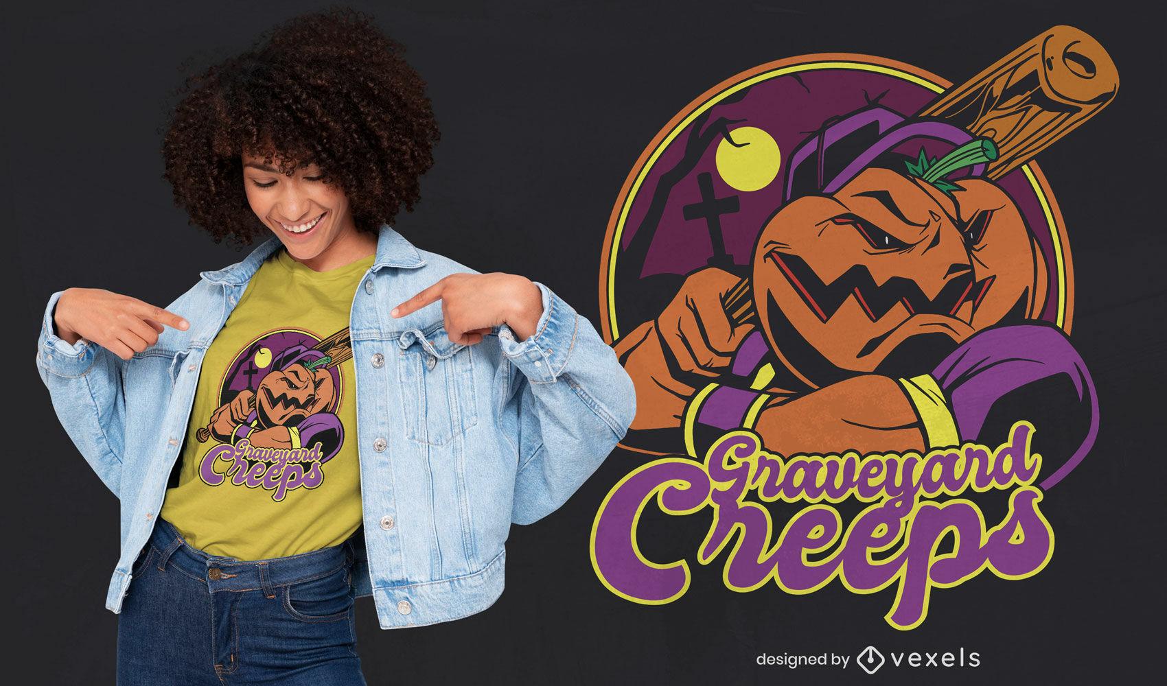 Halloween pumpkin baseball player t-shirt design