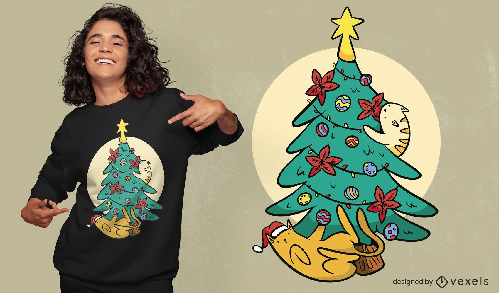 Gatos jugando con diseño de camiseta de árbol de navidad.