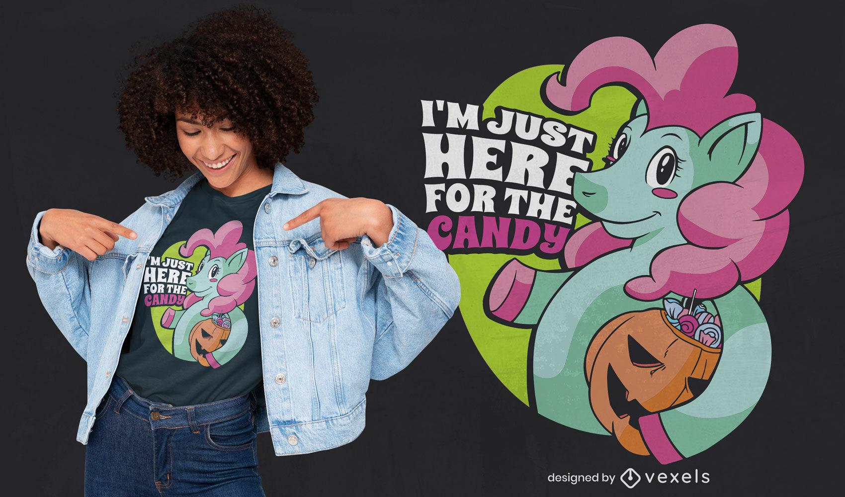 Unicórnio feliz com design de t-shirt de doces
