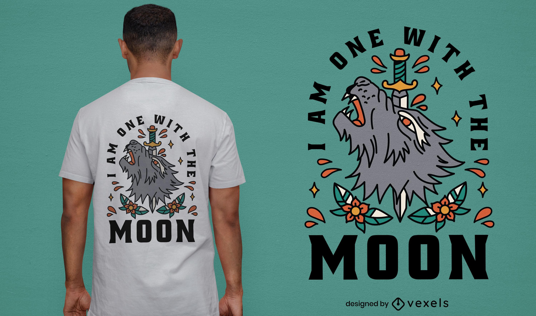 Animal lobo con dise?o de camiseta de daga.
