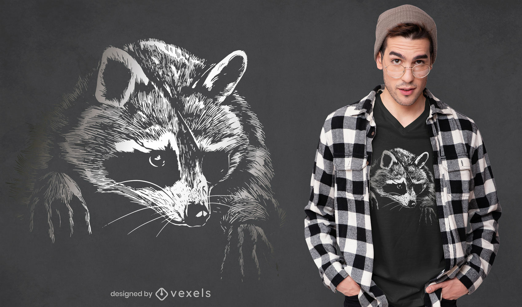 Realistic raccoon with eyepatch t-shirt design