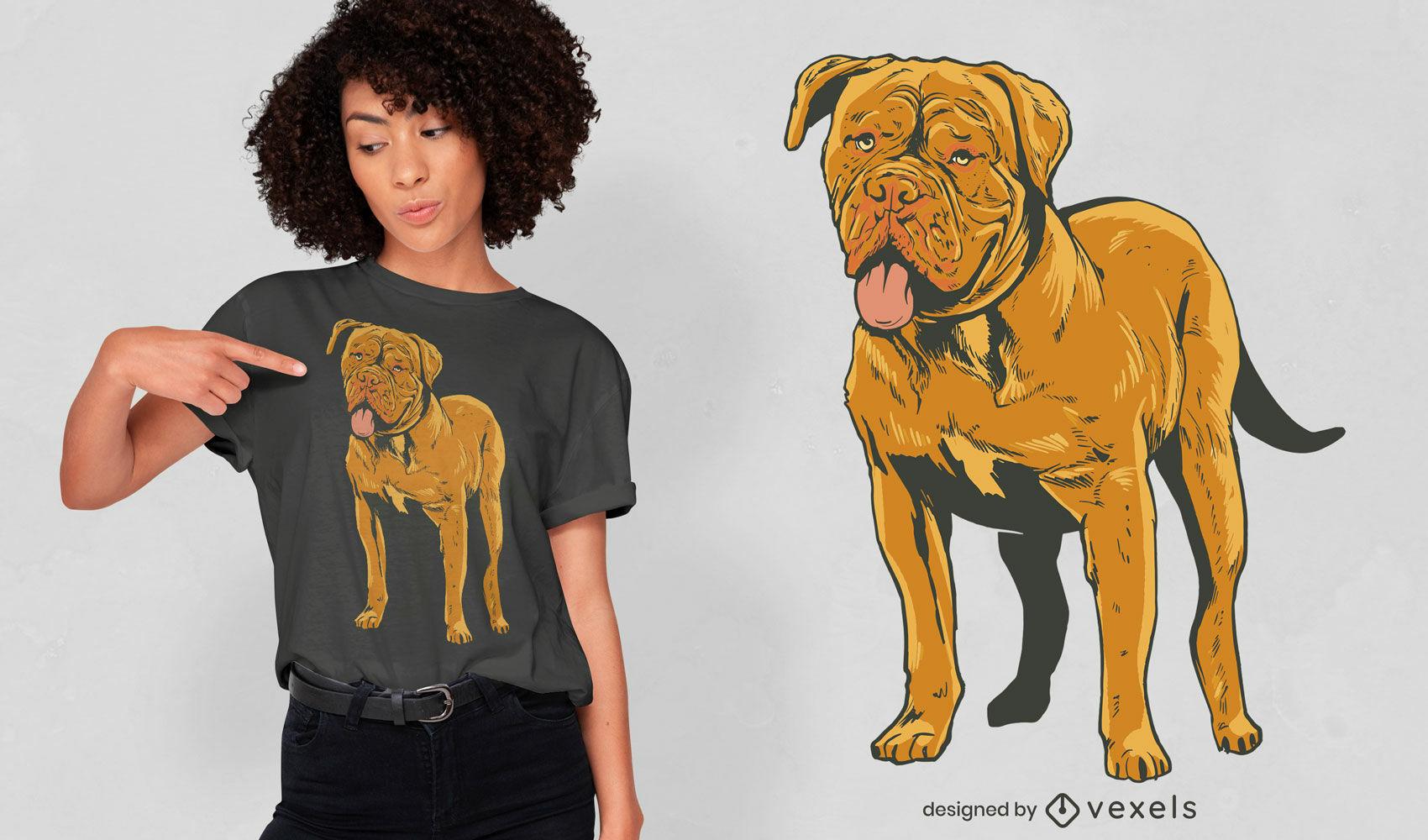 Dise?o de camiseta realista de perro bulldog.