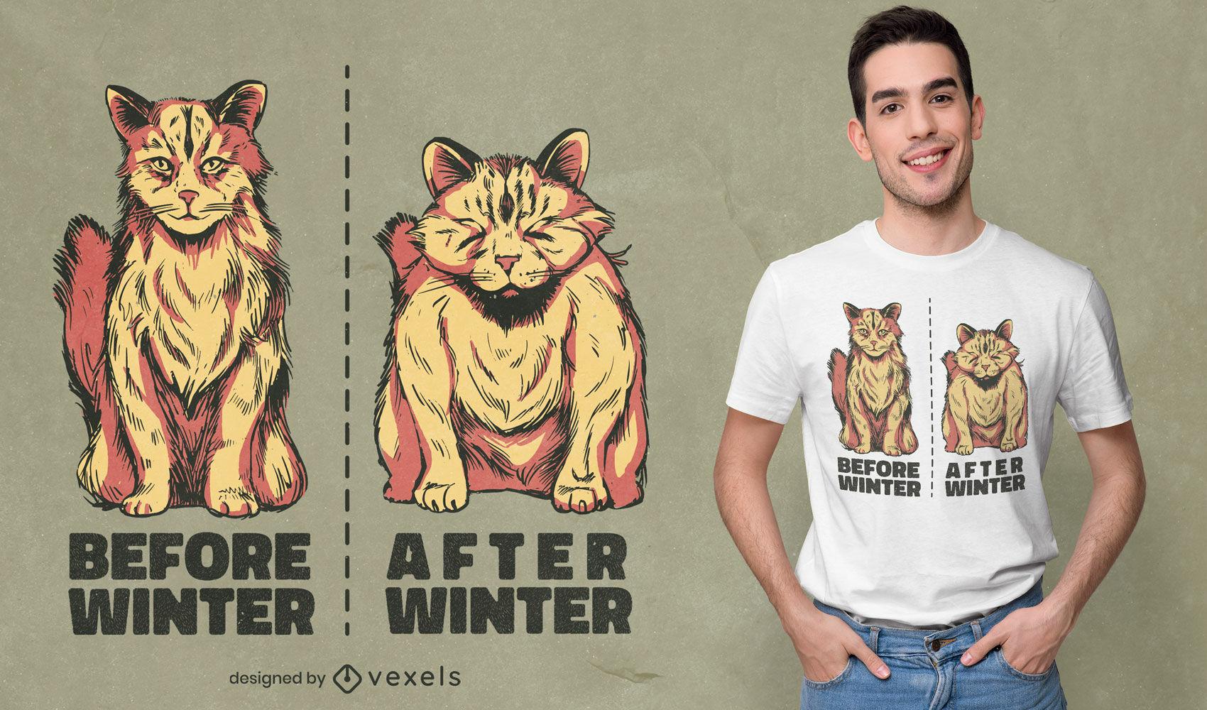 Diseño de camiseta de animales antes y después de gatos.