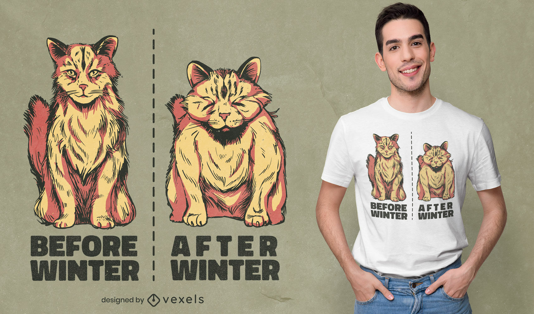 Vorher und nachher Katzen Tier T-Shirt Design