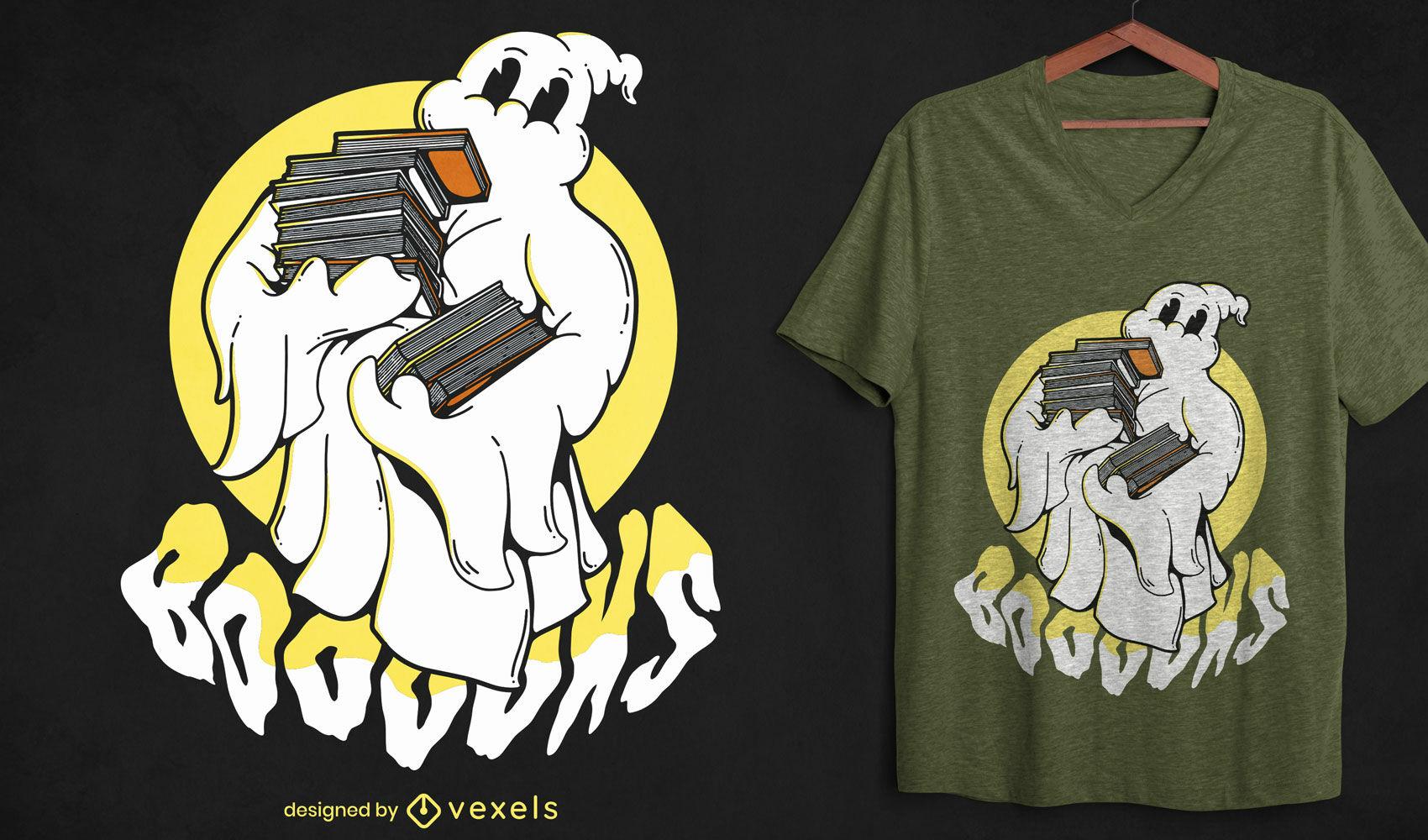 Dibujos animados de fantasmas con diseño de camiseta de libros