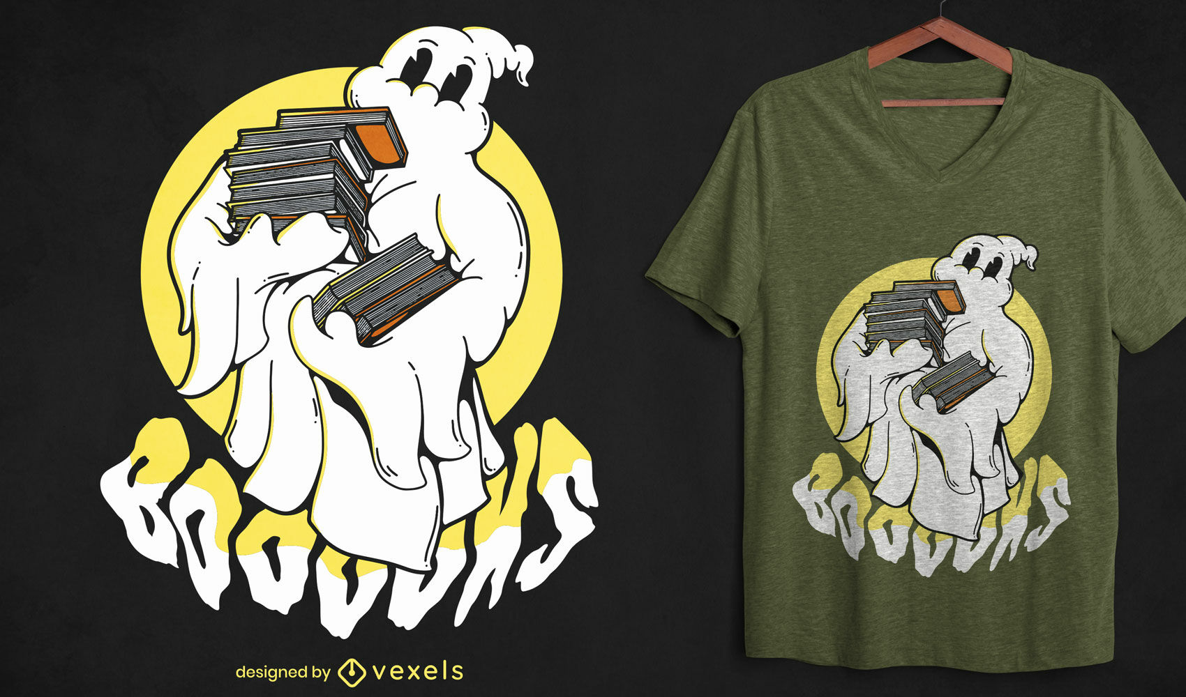 Geisterkarikatur mit Bücher-T-Shirt-Design