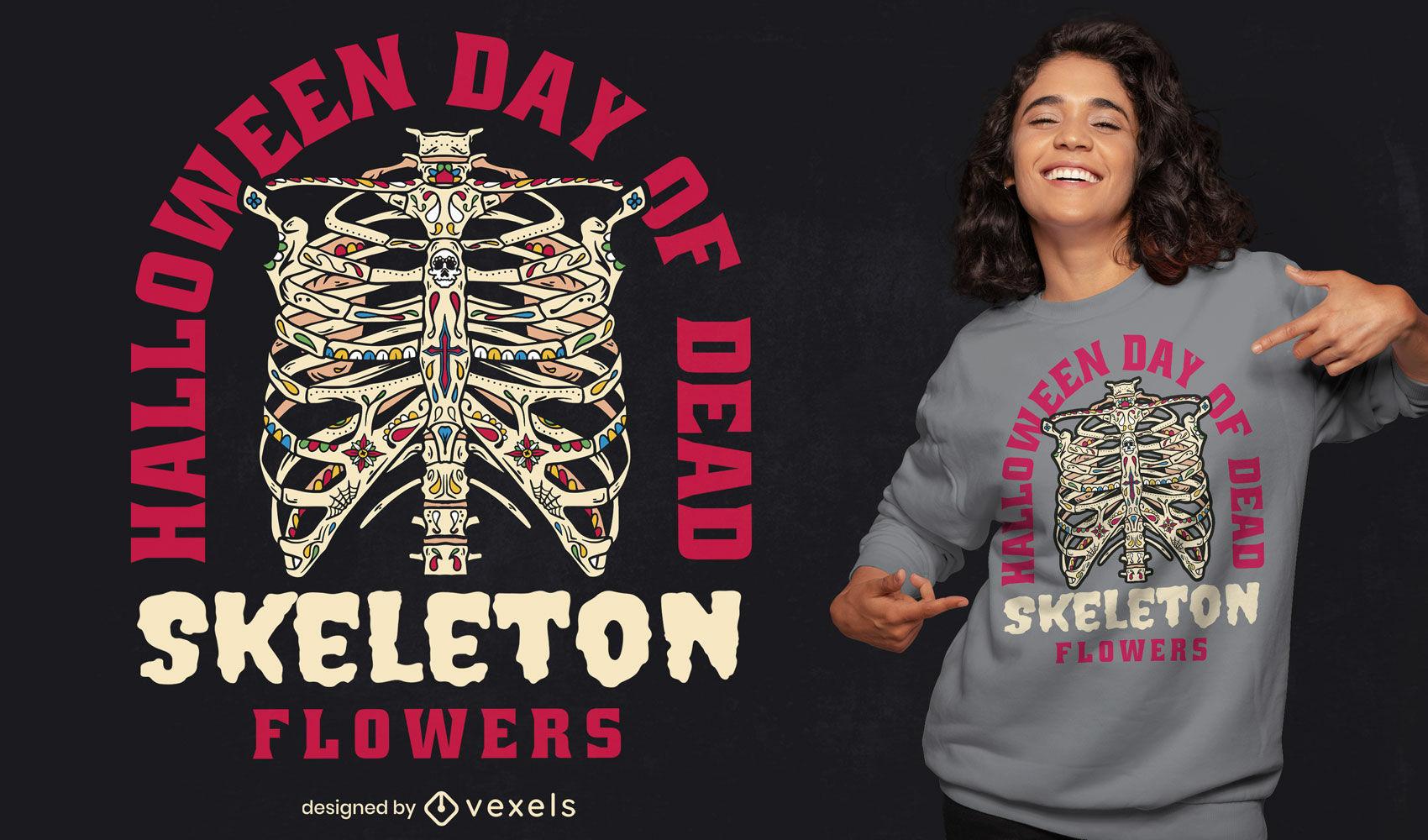Diseño de camiseta de cuerpo de esqueleto de Halloween
