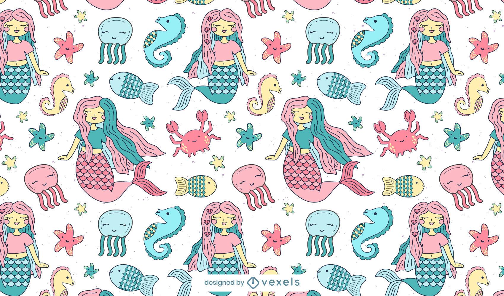 Desenho de padrão de sereias e animais marinhos