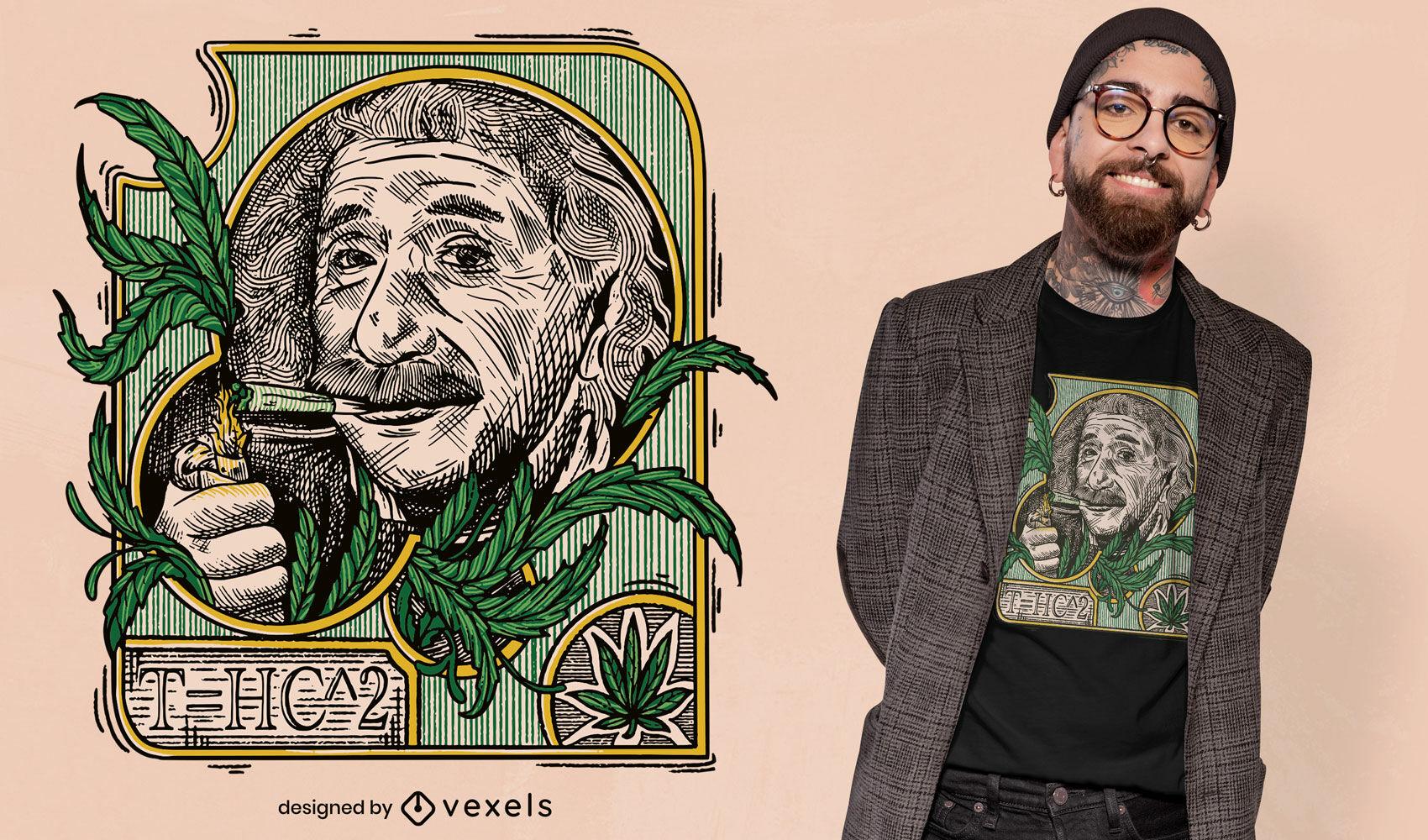 Einstein fumando design de camiseta de maconha
