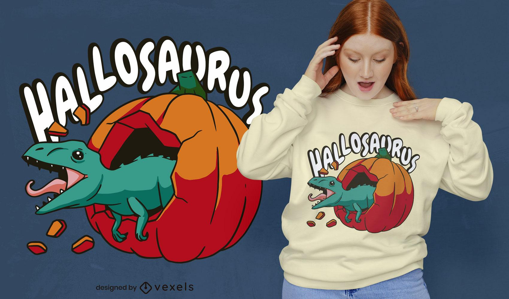 Dinosaur in pumpkin t-shirt design