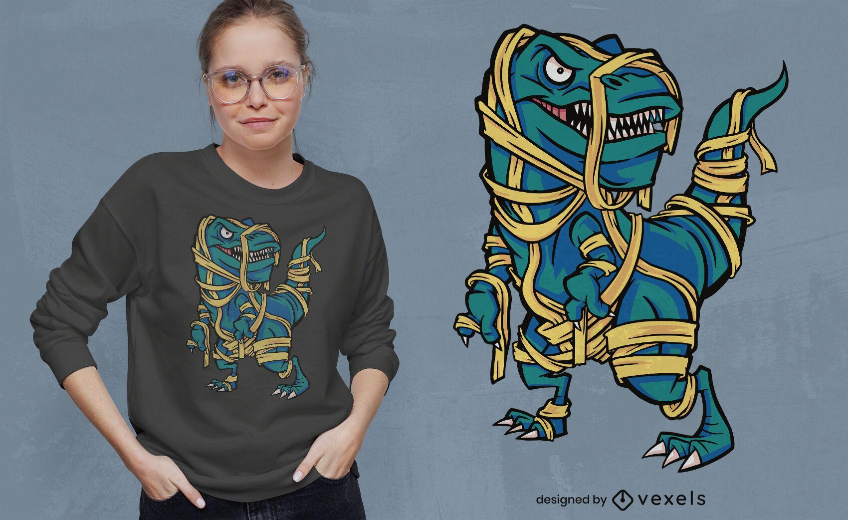Diseño de camiseta momia dinosaurio halloween