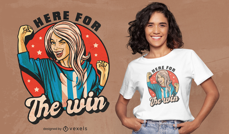 Diseño de camiseta deportiva mujer fanático del fútbol.