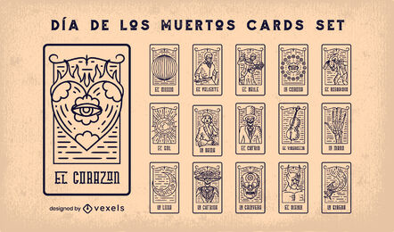 Day of the dead tarot cards stroke set