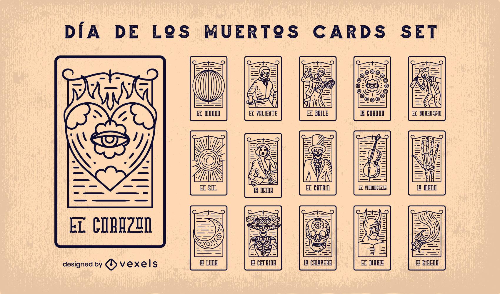 Juego de trazos de cartas del tarot del d?a de los muertos.