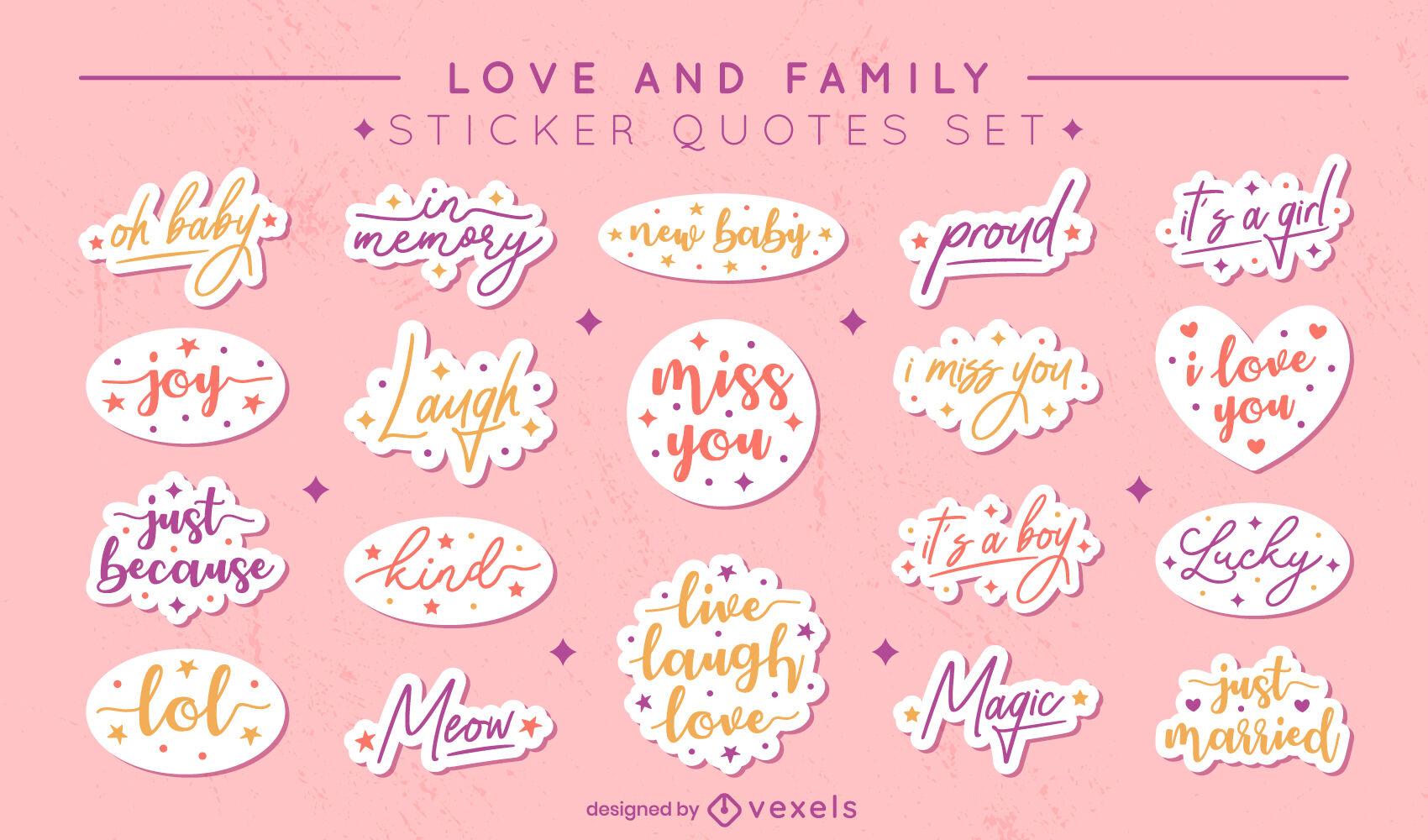 Conjunto de letras de citações de adesivos de amor e família
