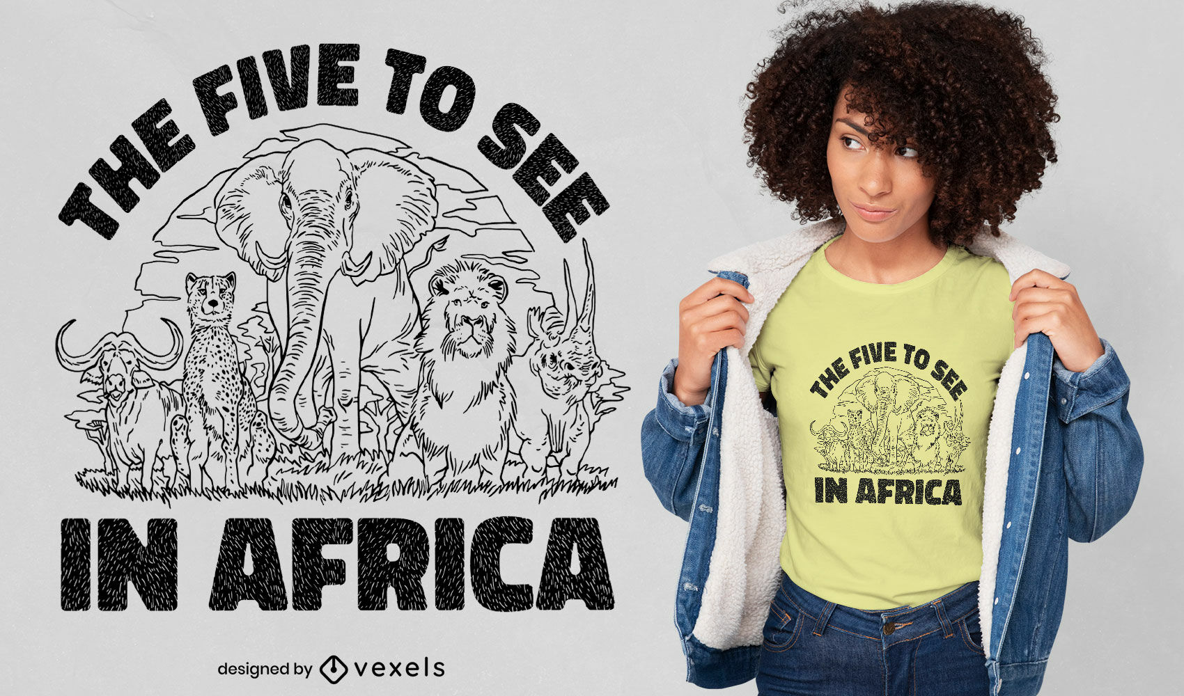 Africa safari animals t-shirt design