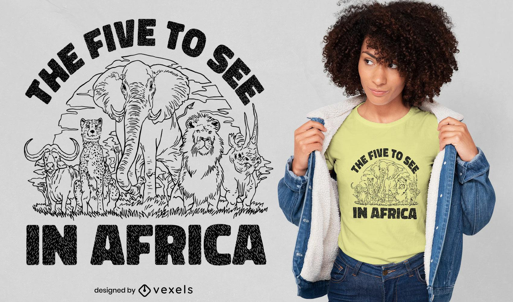 Design de camisetas com animais do safári na África