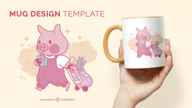 Diseño de taza de dibujos animados de jugo de cerdo bebiendo