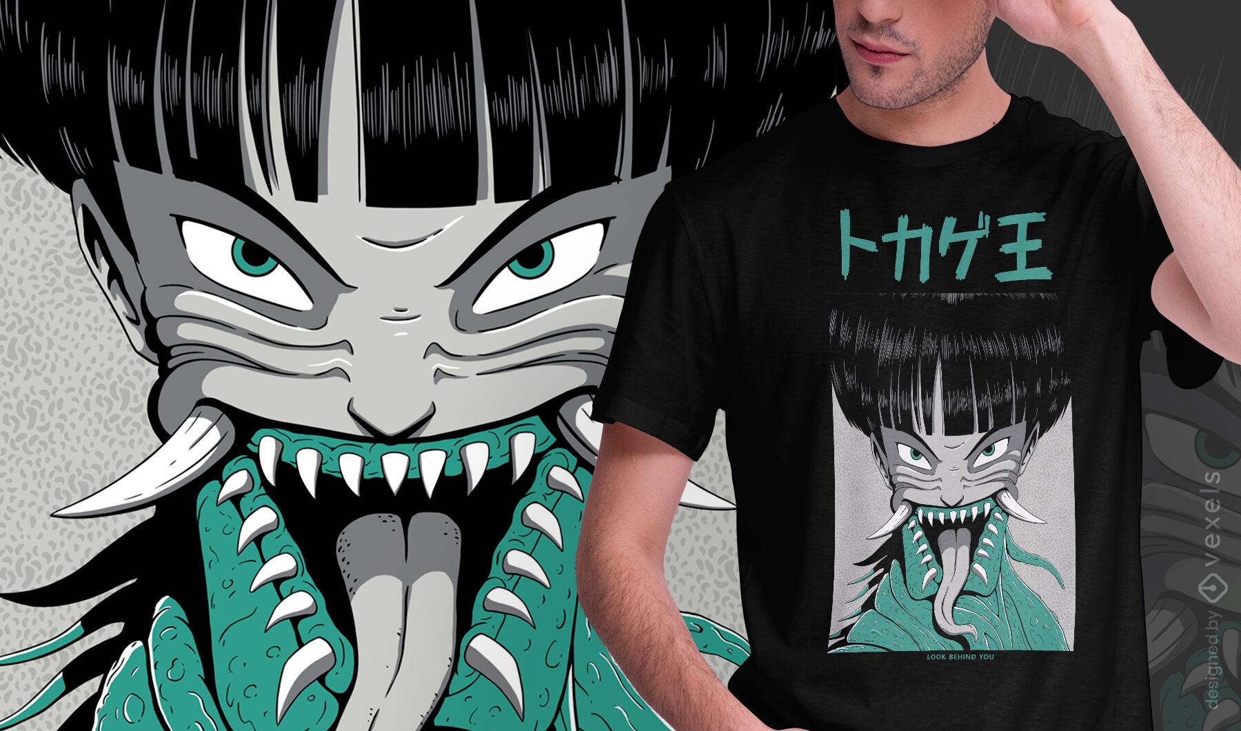 Design de t-shirt psd de personagem de monstro japonês de anime
