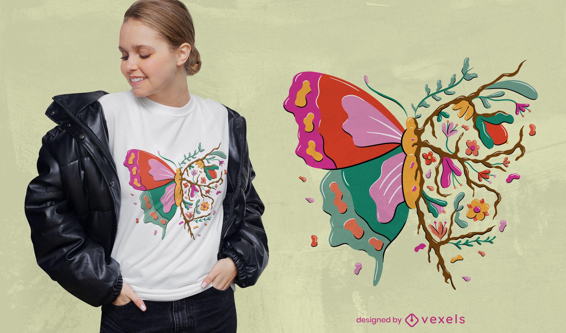 Desenho de t-shirt de folhas de borboleta